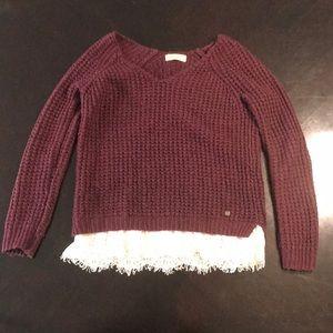 Hollister burgundy chunky knit sweater